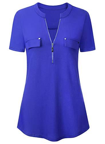 Amrto Damen Kurzarm T-Shirt Sommer Casual Reißverschluss Tunika Tops V-Ausschnitt Arbeiten Bluse Einfarbig, Blau XXXL -