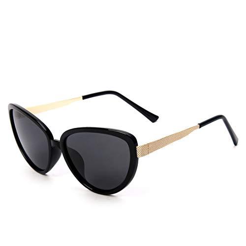Yiph-Sunglass Sonnenbrillen Mode Frauen übergroße Katzenaugen Stil Retro Vintage Sonnenbrille polarisierte Sonnenbrille für (Farbe : Gold Frame/Black Lens)