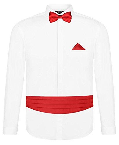 Weiß 5 Teilig (CRIXUS Herren Hemd Weiß Slim Fit Manschettenhemd + Kummerbund Set in Hell Rot - 5 teilig - Anzug Schärpe (3XL - Kragenweite: 47/48))