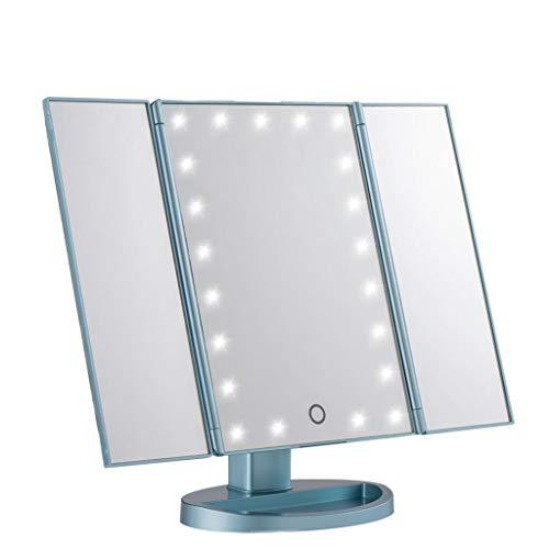 Miroir De Maquillage À LED De Bureau Avec Miroir De Maquillage Carré Miroir De Maquillage De Remplissage Miroir De Lumière (Couleur : Bleu)