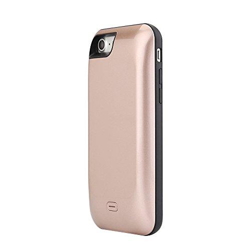 Lenuo Ultra Fin Coque Batterie pour iPhone 7 Plus - 5.5 pouces 7500mAh Power Case Etui Housse Batterie de secours Rechargeable Coque Chargeur de protection pour iPhone 7 Plus - Noir Or Rose