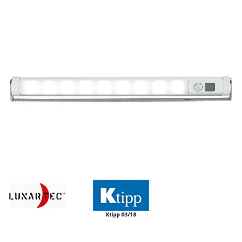 Lunartec LED Leiste Batterie: LED-Lichtleiste mit PIR-Bewegungsmelder, 9 SMD-LEDs, tageslichtweiß (LED Licht mit - Garage Sensor Licht