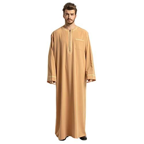 TEBAISE Kostüm Langarm Stehkragen Muslimische Dubai Robe-Sätze Muslim Abaya Dubai Islamisch Arabisch Indien Türkisch Casual Festlich Kaftan Robe Kleid Maxikleid Herren Männer Kaftan im Saudi-Stil (Muslim Kostüme Für Männer)