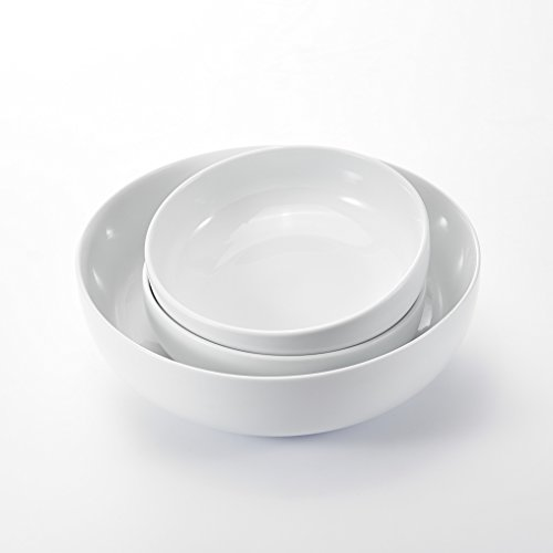 Malacasa, Série Regular, 3pcs Bol Porcelaine Saladier Corbeille à Fruits 1 Grand 3.7L 29*29*8.7cm avec 2 Petit 1.2L 8\