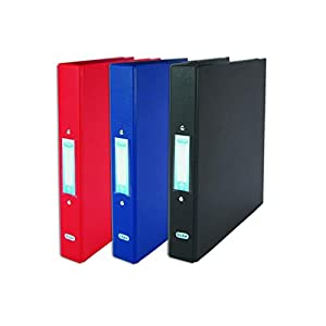 Elba A4 2 O-Ring Binders, Plastic, Red/Black/Blue, Pack of 3