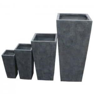 Pots plantes de jardin design arcachon x4 couleur gris for Pot jardin design
