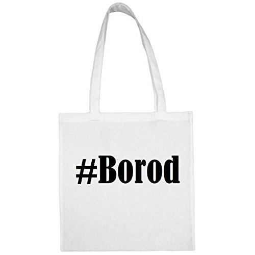 Tasche#Borod Größe 38x42 Farbe Weiss Druck Schwarz