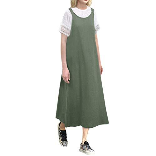 rauen Baumwolle und Leinen hängen Bandbreite verlieren Rock außerhalb der Wildnis Mode Frauen Sleeveless Cotton Linen Loose Strap Casual Langes Kleid ()