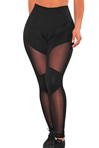 Aranmei Ladies Mesh Leggings,Lange Damen Hohe Taille Yoga Fitnesshose Mit Halbtransparenten Einsätzen(Reines Mesh,Large) - Mesh Womens Pants