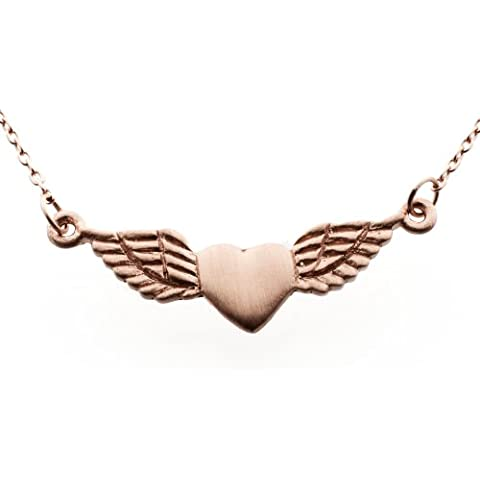 Silver Winged & Rose Gold-Collana con ciondolo a forma di cuore