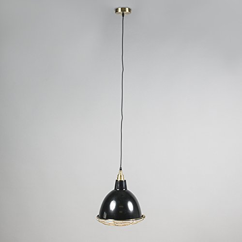 QAZQA Modern 2-flammiger-Set Pendelleuchte / Pendellampe / Hängelampe / Lampe / Leuchte Strijp O schwarz / Innenbeleuchtung / Wohnzimmer / Schlafzimmer / Küche Metall Rund LED geeignet E27 Max. 2 x 40 - 4