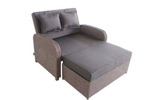 greemotion Rattan-Lounge Bali, Sofa & Bett aus Polyrattan, indoor & outdoor, 2er Garten-Sofa inkl. Kissen & Auflagen, Daybed mit Stahl-Gestell, grau -
