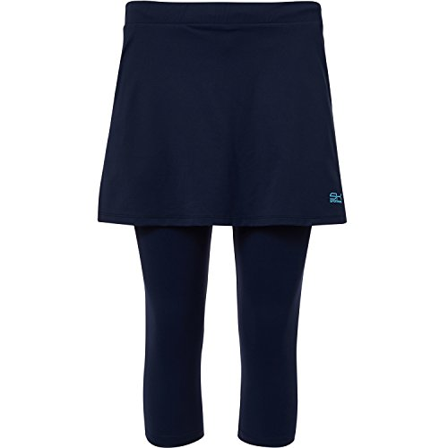 Sportkind Mädchen & Damen Tennis / Hockey / Running 2-in-1 Rock mit Leggings, navy blau, Gr. S