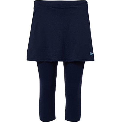 Sportkind Mädchen & Damen Tennis / Hockey / Running 2-in-1 Rock mit Leggings, navy blau, Gr. 164