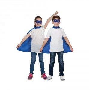 Childs Blue Super Hero Cape & Mask Fancy Dress ()