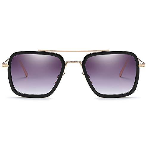 LianSan Tony Stark Sonnenbrille Retro Square Eyewear Aviator Metallrahmen für Männer Frauen Sonnenbrille Downey Iron Man (Grau verlaufend)