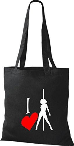 Pochette en tissu i love poledance Acrobaties érotique Sac en coton, sacs, plusieurs couleurs Noir - Noir