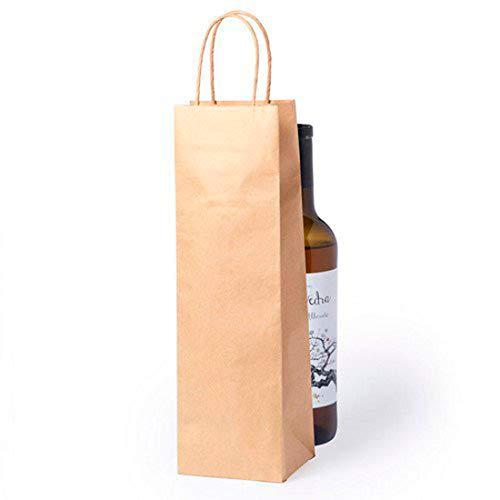 DISOK Lote de 50 Bolsas Kraft para Botellas de Vino - Bolsas para Vino, Kraft, Naturales, Marrón, Marrones. Bolsas para Botellas de Vino Papel. Bodas Detalles y Recuerdos
