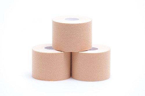 Theramaid Sportstapes – Premium Sporttape mit 160% Dehnfähigkeit / 5cm x 5m, 96% Baumwolle, Kineseologie - Physiotherapie-Tape, verschiedene Farben, wasserfest (beige)