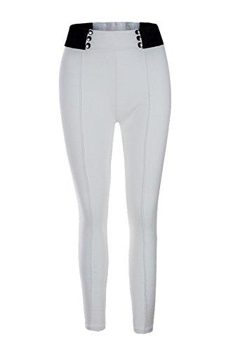 JOTHIN 2018 Elasticizzati Pantaloni a Matita Vita Alta Slim Calzoni con rivetti Eleganti Casual Pantalone Sport Skinny Pants Donna Bianco