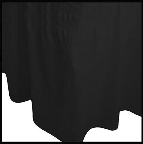 Feuille de valance Drap housse uni Teint Poly Coton avec 40 CM Volant Jupe, baisse (Black, Super King)