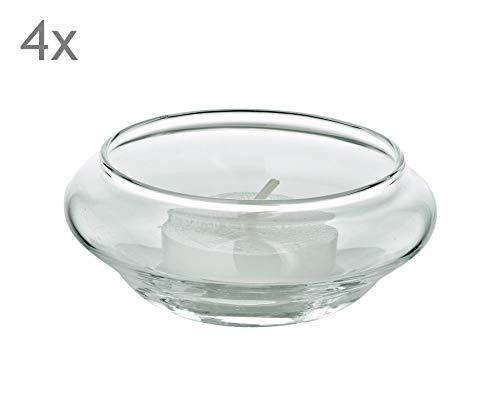EDZARD 4er Satz Schwimm-Teelichthalter Iris, mundgeblasenes Glas, Durchmesser 8 cm, Höhe 4 cm - Iris Glas