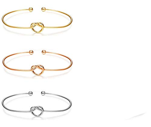 Fire Ants Love Knot Bangle Bracelet Adjustable Tie The Knot Cuff Bangle Bridesmaid Gift for Women Girl Sister Mother Friends(3color3sets) Womens Gift