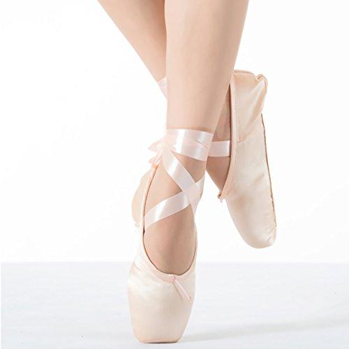 Raso Classico Scarpe Rosa E Rosso Pointe Balletto Scarpe Da Ballo Pantofola Con Pastiglie Nastro E Punta (Rosa, EU37 ( lunghezza interna: 225mm ))