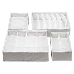 ZOLLNER24 4er Set Aufbewahrungsbox aus Stoff, Verschiedene Größen