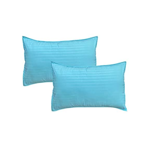 Amrange Satin Striped Cotton Pillow Covers Pack of 2 Piece Size 17'' x 27'' Sky Blue