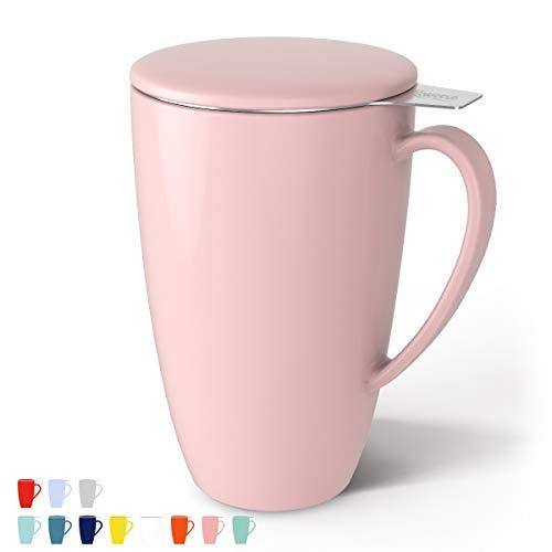 Sweese 201.108 Teetasse mit Deckel und Sieb, Becher aus Porzellan für Losen Tee Oder Beutel, Rosa, 400 ml -