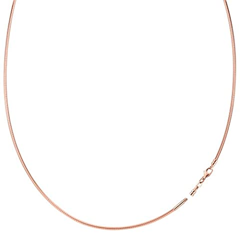 Round Omega Chain Necklace With Screw Off Lock In 14k Rose Gold, 1.5mm, 16