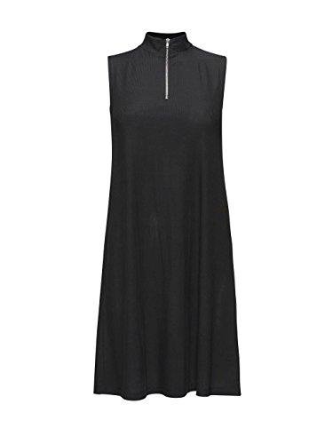 ADPT. Posh Damen Kleid A-Linie mit Stehkragen und Reißverschluss gerippt kurz (M, Schwarz)