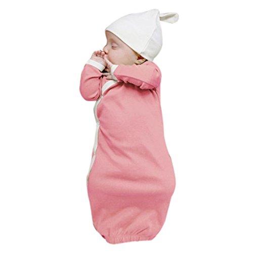BeautyTop Baby Body 0-24 Monate,Spielanzug Baby Overall Herbst Kind Langarm Leopard Anzug Bodys Baby Schlafsack-Robe-Hutsatz der Männer und Frauen (Rosa, 9Monate)