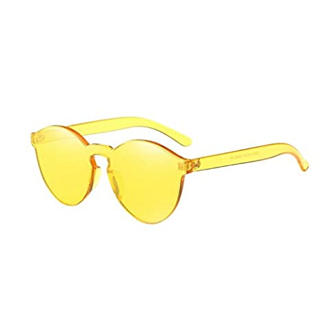 Toamen Women Fashion Candy Colored Cat Eye Shades Sunglasses Integrated UV Glasses (Yellow)