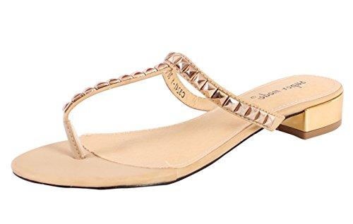 Ladies Tongs de plage pour femme à boutons-Chaussures Sandales pour orteil Beige - beige