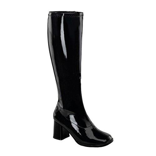 GOGO-300WC, Schlichter Stretch-Stiefel schwarz Lack (weiter Schaft), Größe wählen:38.5