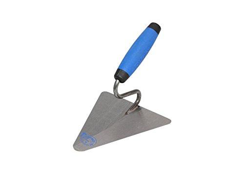 DEWEPRO® Kleine Berliner Maurerkelle - Putzkelle - Dreieckskelle mit S-Hals - 160x140mm - Stahlblatt - Berliner Form mit Schwanenhals und 2-Komponenten-Griff