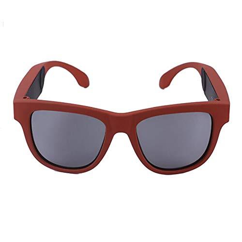 KCaNaMgAl Knochenleitungsbrillen-Headset, drahtlose Bluetooth 4.0-Sportkopfhörer Polarisierte Sonnenbrille Stereo-Sound Smart-Touch-Sonnenbrille für Fahrten im Freien,Red