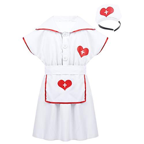 iEFiEL Mädchen Krankenschwester Kostüm Uniform Arzt Ärztin Kinder Kleider mit Hut und Schürze für Halloween Fasching Fasnacht Weiß 128-140