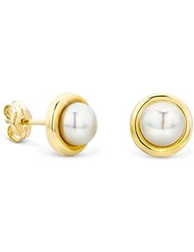 Orovi Damen Ohrringe Perlen Set Ohrstecker 14Karat Gold Gelbgold (585) Schmuck