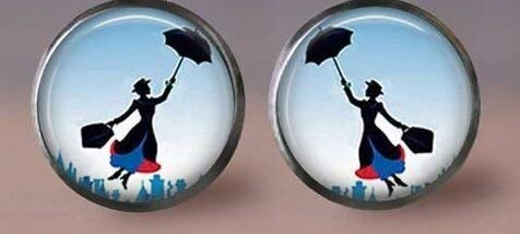 Mary Poppins Ohrringe, schönes Mädchen und Regenschirme, Modeschmuck