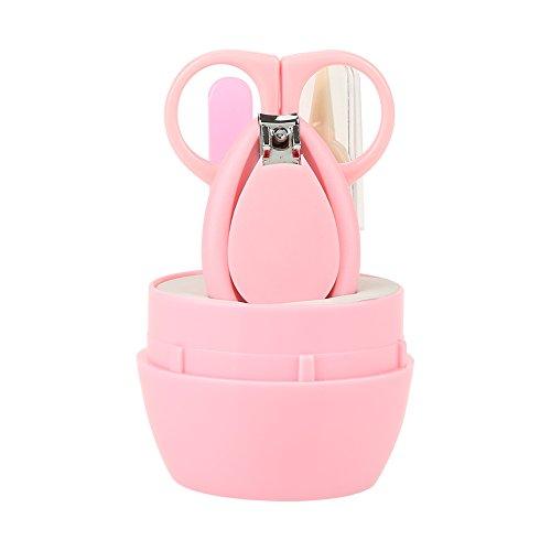 Kit di manicure per neonati, 4 pezzi di forbicine di sicurezza per unghie giornaliere per neonati(rosa)
