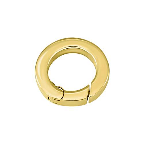 Quiges Clip Ring Carrier Gold 17 mm Edelstahl Verbindungsring für Kette und Coin Anhänger mit Karabiner Snap Verschluss