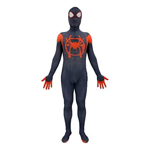 GanSouy Mode Meilen Morales In Spinne Vers Cosplay Kostüm Spiderman Spider-Man Strumpfhosen Overall Body Suit mit abnehmbarer Maskenausstattung für Halloween, Weihnachten, Party,Miles Morales A-XXL
