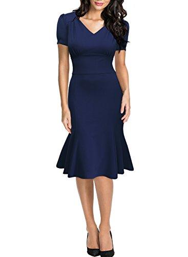 Miusol Damen Sommerkleid V-Ausschnitt Kurzarm 1950er Retro Fishtail?Buero Cocktail Kleid Blau EU 44/XL