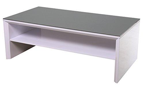 DEGAMO Couchtisch 120x65cm, Weiss Hochglanz, Tischplatte Glas grau
