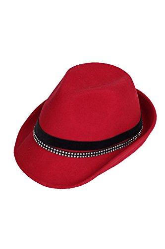 Damen Faustmann Hüte Damen Trachtenhut mit Strass rot, rot, 56