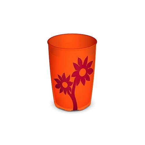 Ornamin Becher mit Anti-Rutsch Blume 220 ml orange/rot (Modell 820) / Trinkbecher, Pflege-Becher, Kinderbecher