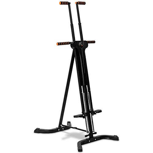 COSTWAY 2 in 1 Stepper & Vertical Climber klappbar, Climbing Machine 120KG belastbar, Klettermaschine höhenverstellbar, Mountainclimber aus Stahl, Fitnessgerät schwarz, Heimtrainer 63 x 90 x 183cm